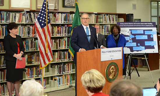 Gov. Jay Inslee joined by speakers at the press conference detailing the Governor's K-12 funding plan at Lincoln High School in Tacoma, Wash., Dec. 13, 2016 (Official Governor's Office Photo)