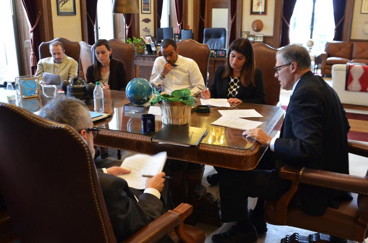 Gov. Inslee and staff prepare for his 2016 State of the State Address, Jan 11, 2015.